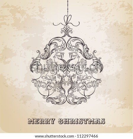 Christmas Ball made from Vintage Ornate Elements - Christmas Vector Card - stock vector