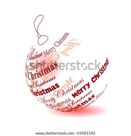 """Christmas ball made of """"Merry christmas"""" phrase - stock vector"""