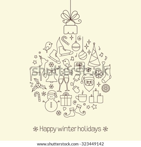 Christmas ball made of winter holidays symbols and elements - stock vector