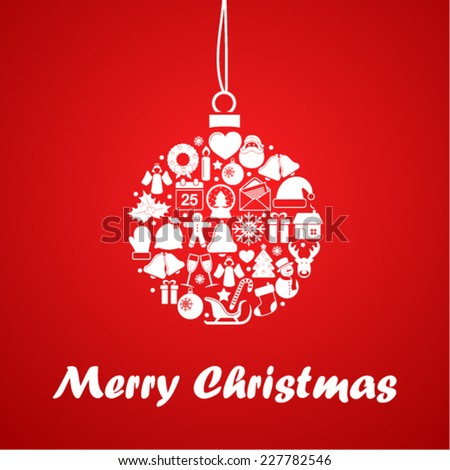 Christmas ball of christmas icons - stock vector