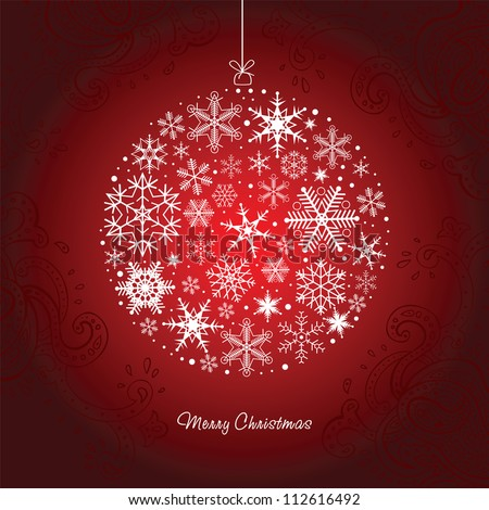 Christmas ball  of the Snowflakes. Vector background. - stock vector