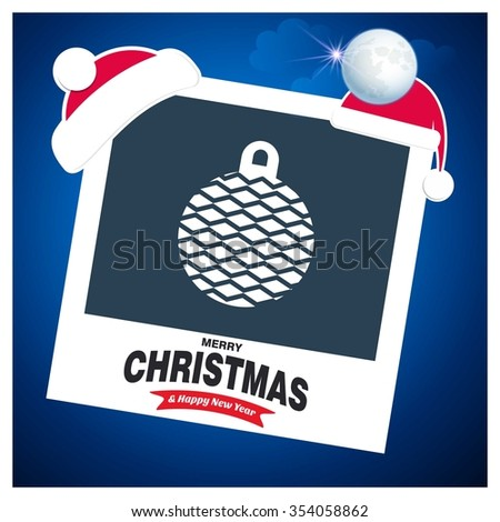 Christmas Ball Ornaments card Design. Picture frame with Santa Hat on top and Merry Christmas typography - stock vector