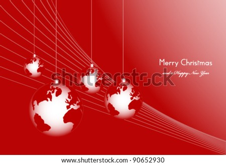 Christmas ball ornaments shaped as world globe on red background - stock vector