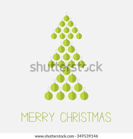Christmas ball set in shape of green fir tree. Merry Christmas. White background. Isolated. Flat design style. Vector illustration. - stock vector