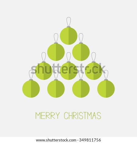 Christmas ball set in shape of triangle fir tree. Merry Christmas. White background. Isolated. Flat design style. Vector illustration. - stock vector