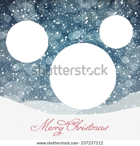 Christmas Ball Symbol and Falling Snow and Isolated Areas for Text - stock vector