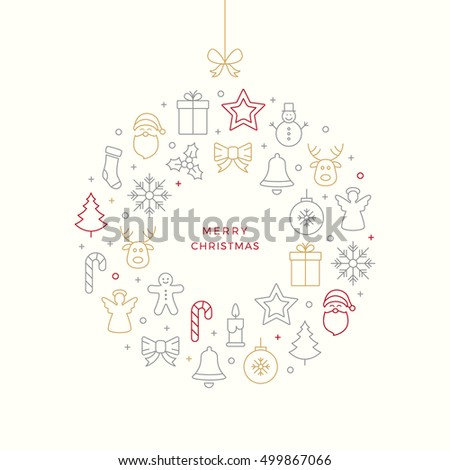 christmas ball thin line icons