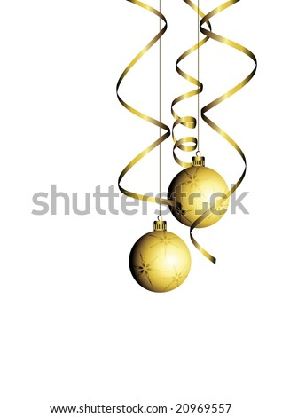 christmas ball with curly ribbon - stock vector
