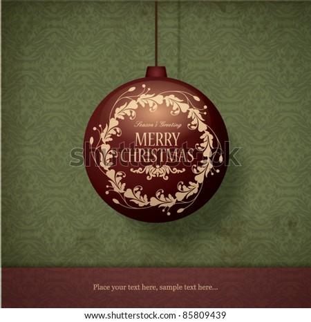 Christmas ball with greeting - stock vector