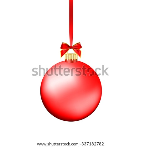 Christmas ball with red ribbon. Vector Illustration. - stock vector