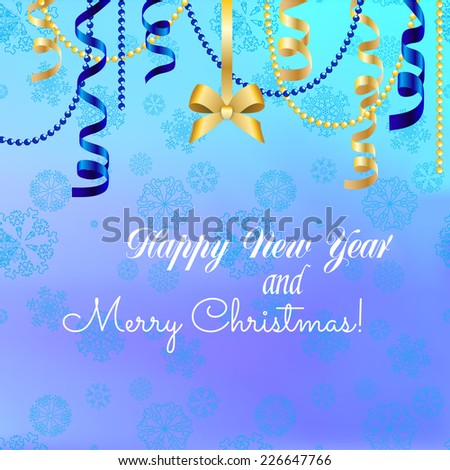 Christmas Ball with Ribbon. Greeting card. Happy New Year and Merry Christmas. Xmas Decorations. Sparkles and bokeh. Shiny and glowing. Holiday Design for New Year Greeting Card - stock vector