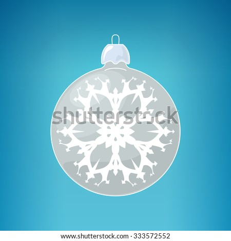 Christmas  Ball with Snowflake , Silver Ball  on a Blue Background , Christmas Tree Decoration, Merry Christmas and Happy New Year,  Vector Illustration - stock vector