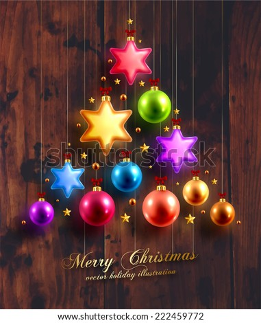 Christmas Balls and Stars. Xmas Decorations. Wood Texture Background. Golden Holiday Decorations Vector. - stock vector