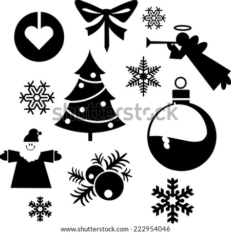 Christmas balls Christmas tree silhouette. Set of silhouettes on a white background - stock vector