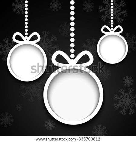 Christmas balls cut from paper on black background with snowflakes. - stock vector