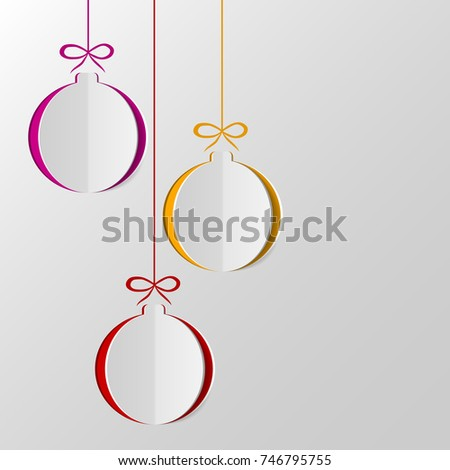 Christmas Balls Cut Out Paper Template Stock Vector 746795755 ...
