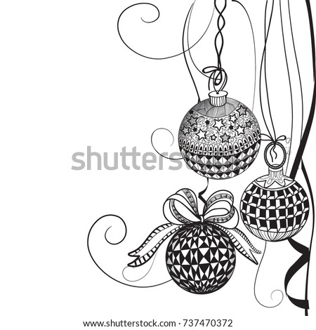 Christmas Balls Hand Drawn Illustration Freehand Sketch For Adult Anti Stress Coloring Book Page
