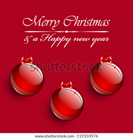 Christmas balls hanging on red background. - stock vector