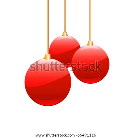 Christmas balls hanging with ribbons on white background. Vector