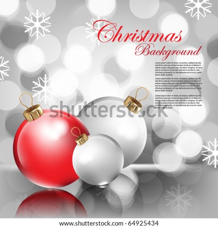 Christmas Balls in blurry Background - stock vector