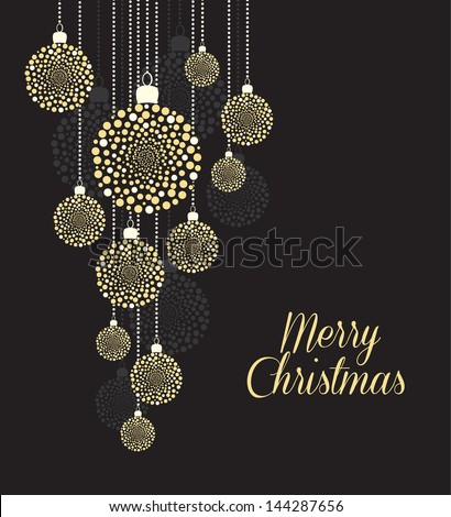 Christmas balls on black background - stock vector