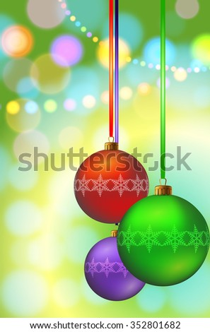 Christmas balls on festive background. Vector illustration - stock vector