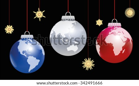 Christmas balls planet earth - three different angles of view. Three-dimensional illustration on black background. - stock vector