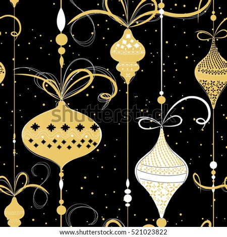 Christmas balls seamless pattern Gold black white theme