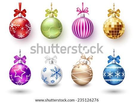 Christmas balls set - stock vector