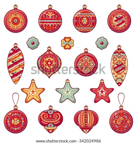 Christmas balls. Set of color Christmas toys. Holiday decorations. Template for design. Winter. White background. Isolated image. New Year decoration. Cut the paper. Eps. Snowflakes. Pattern toy. 2016 - stock vector
