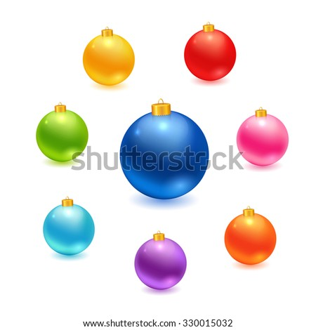 Christmas balls set. realistic colorful balls made in vector. - stock vector