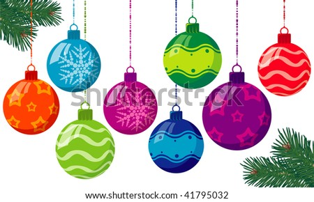 Christmas balls. Vector. - stock vector
