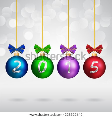 Christmas balls with bows and 2015 text on sparkling background. - stock vector