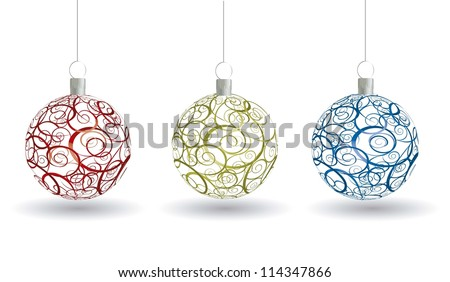 christmas balls with ornament over white background. vector - stock vector