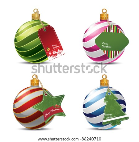 Christmas balls with price tags - stock vector