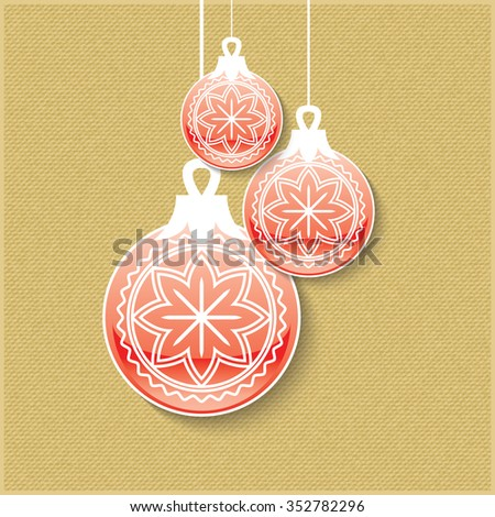 Christmas balls with shadow isolated. Minimal Christmas abstract background. - stock vector