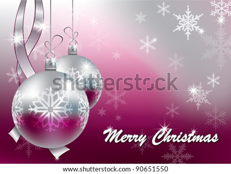 Christmas balls with snowflakes - stock vector