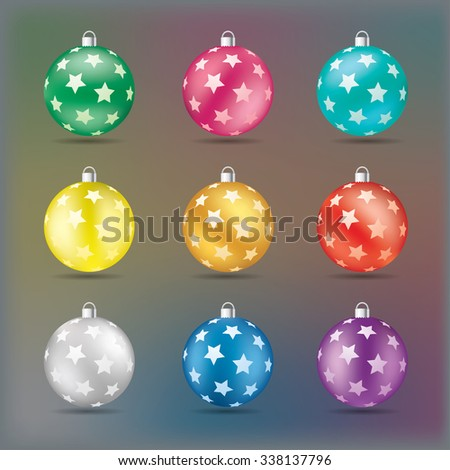 Christmas balls with stars in various colors vector illustration. - stock vector