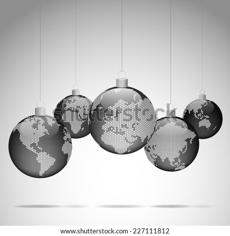 Christmas balls with world dotted maps - Christmas travel - Gray ver.  Vector eps10 - stock vector