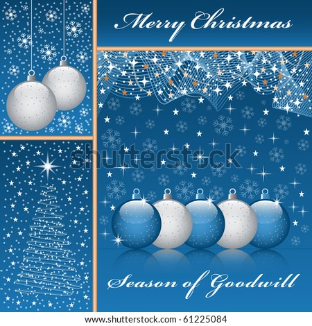 Christmas balls, xmas tree, snowflakes and stars set on a blue background. Raster also available. - stock vector
