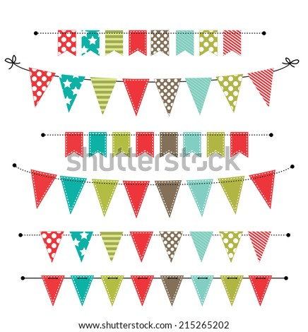 Christmas banner, bunting or flags on transparent background, for scrapbooking, vector format - stock vector