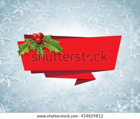 Christmas Banner Ribbon Label Vector