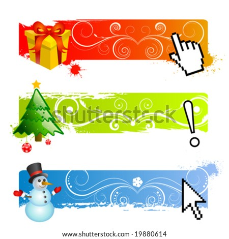 christmas banner set vector - stock vector