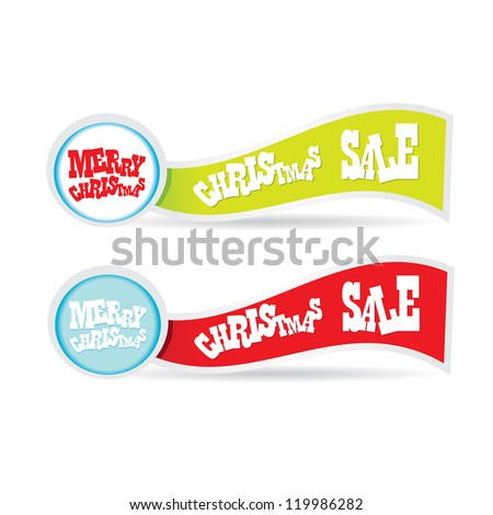 Christmas banner set with ribbon. vector illustration.