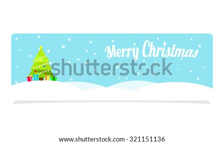 Christmas Banner, tree and snow - stock vector