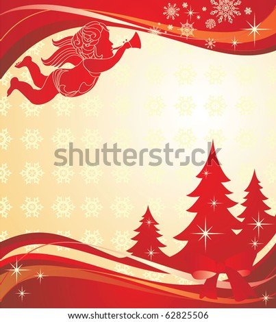 Christmas banner with angel - stock vector