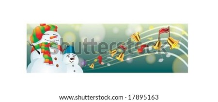 Christmas Banner with cute snowmen on Merry X-Mas on green background : vector illustration