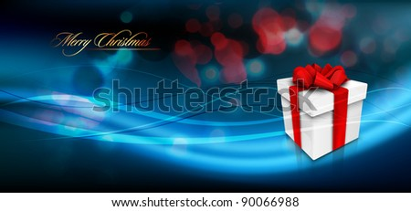 Christmas Banner with Gift Box and Ribbon Bow | EPS10 Vector | Layers Organized and Named