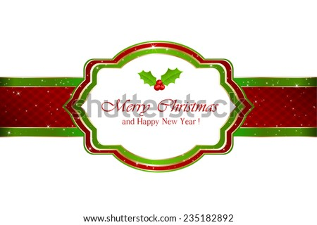 Christmas banner with holly berry and bow, illustration. - stock vector