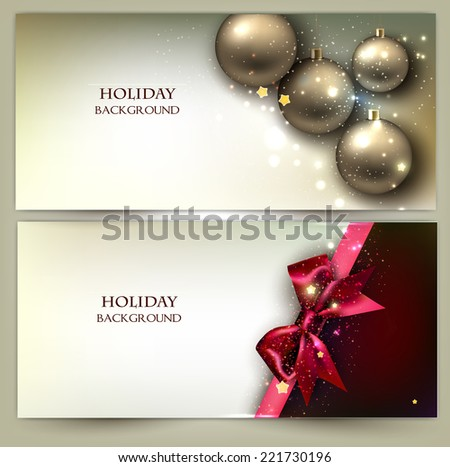 Christmas banners. Golden Xmas baubles. Vector set